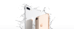 iPhone 8 being splashed by water–Source: Apple.com